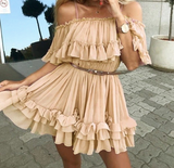 Fara Ruffle Pleated Dress | chiffon dress summer Off shoulder
