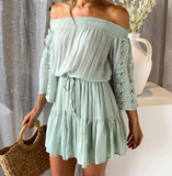 Hellen Mini Dress | lace dress off shoulder Pleated flare