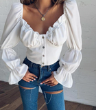 Sara Puff Sleeve Top | White Square Collar Flare Sleeve Button Top
