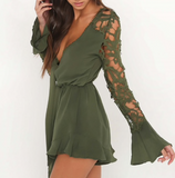 Eris Lace Playsuit | Chiffon Long Sleeve