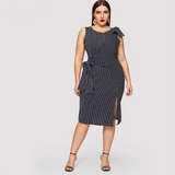 Lennon Dress | Plus Size Navy Striped Bow Waist Split Elegant Dress