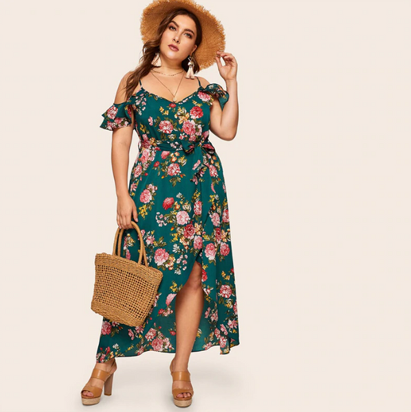 Selah Maxi Dress | Plus Size Cold Shoulder Tulip Hem Ruffle Trim Floral Print Wrap Maxi Dress