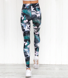 Hana Leggings | Flower Leaf Print Leggings Slim Elastic