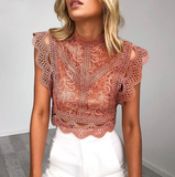 Mya Embroidered LaceTop | High Neck Crop Top Blouse Jumper