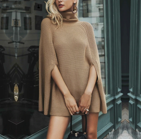 Hazel Poncho | Turtleneck oversize knitted sweaters