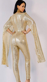 Gika Sequin Jumpsuit | Hollow Sleeve