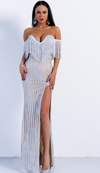 Yaya Glitter Dress | Long Off Shoulder