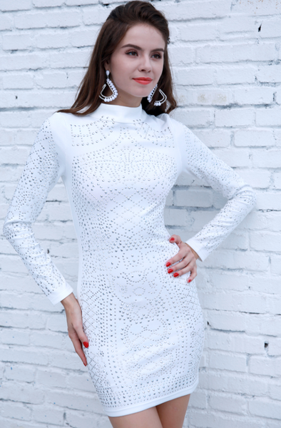 Connie Studded Dress | Long Sleeve Mini
