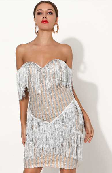 Nini Glitter Dress | Off Shoulder Mini