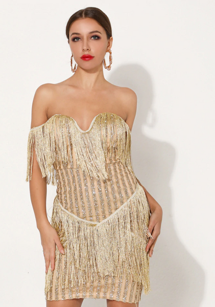 Riri Glitter Dress | Off Shoulder Mini