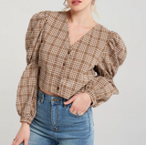 Selah Blouse | Backless Lace Up Plaid Vintage Puff Sleeve