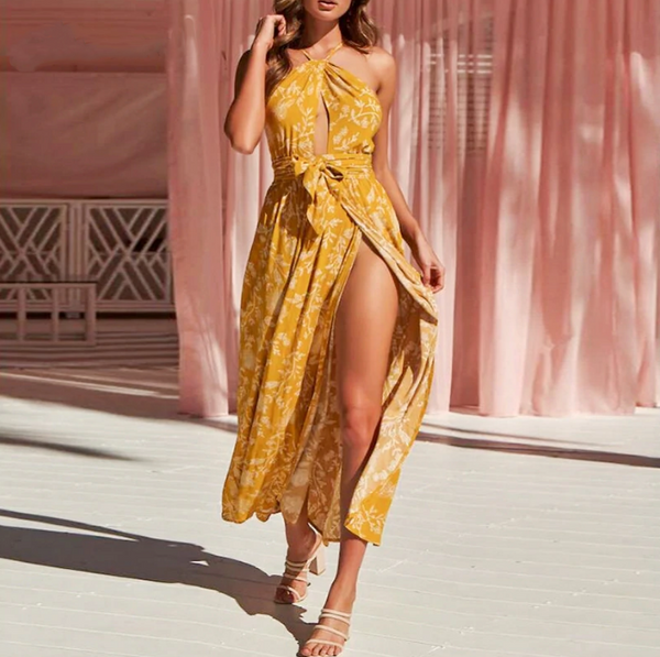 Selena Maxi Dresses | Spaghetti Strap Crop Backless Dress Print