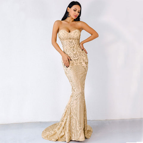 Shirley-Strapless-Floor-Length-Glitter-Party-Dress