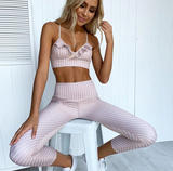 Sofia Two Piece Set | Thin Striped Lace High Waist Gyms