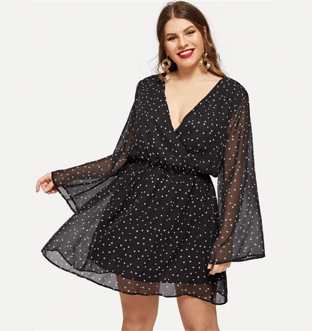 Sophie Dress | Plus Size Black V Neck Sheer Bell Sleeve Star Print Wrap Boho Chiffon