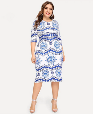 Thea Dress | Plus Size Elegant Porcelain Print Casual Half Sleeve Trim Midi Dress