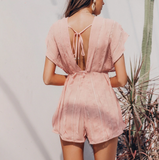 Tori Romper | Sexy V-neck Backless Pink Romper Chiffon