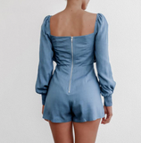 Valery Romper | Casual Blue Ruffles Playsuit Long Sleeve Elastic High Waist Solid