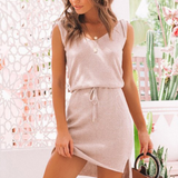 Vienna Mini Dress | Elegant V Neck Short Lace Up Knitted Pink