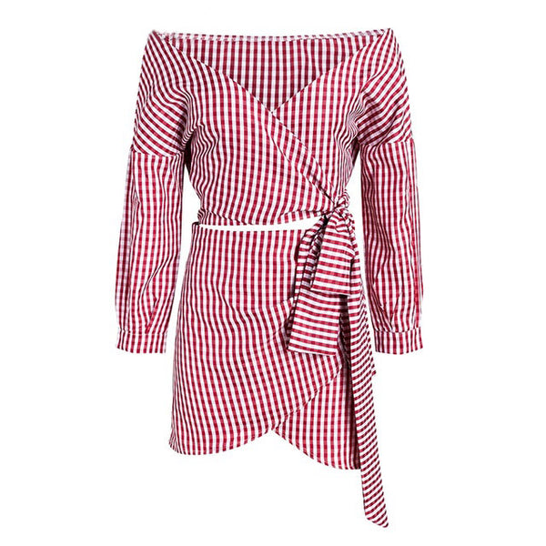 Zaphyre-Off-Shoulder-Plaid-Two-Piece-Dress