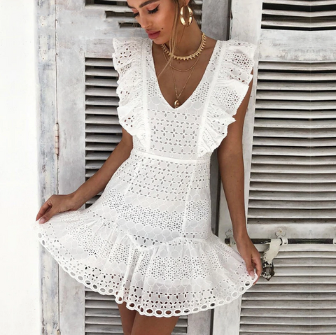 Zoey Dress | V-Neck Ruffle Cotton Embroidery High Waist Vintage