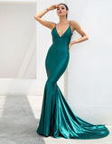 Nina | Green Deep V-Neck Backless Maxi Dress