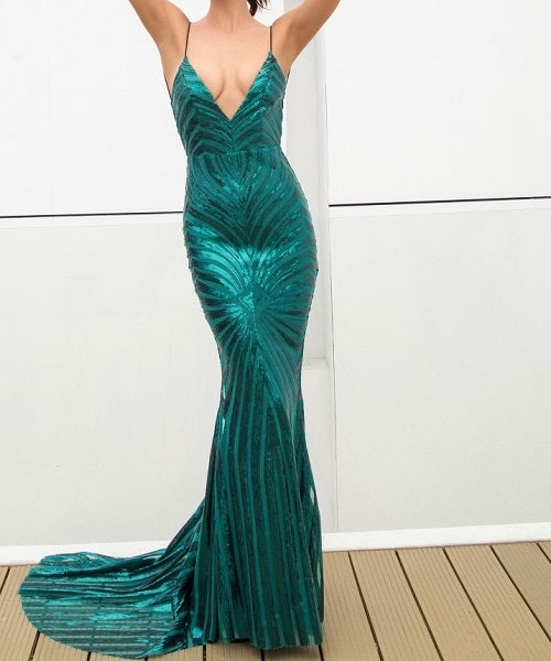 Germaine Dress | Sexy Green Deep V Neck Open Back Sequins Long Dress