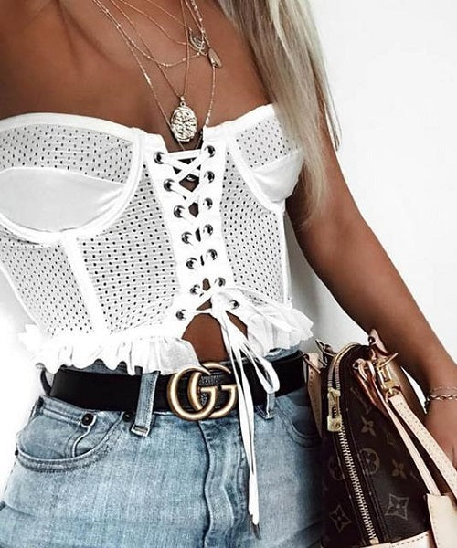 Zaidee |  White Lace up Off Shoulder Crop Top