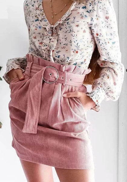 Danica Mini Skirt | Pink Curdoroy High Waist Mini Skirt