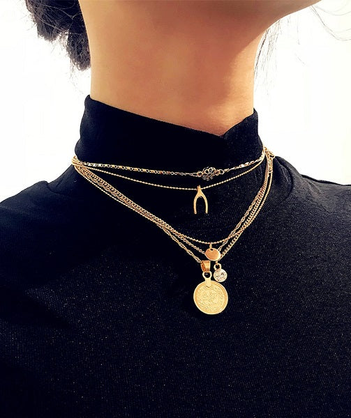 Irene | Gold Color Multi-layer Necklace