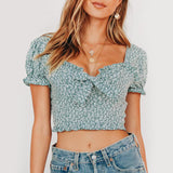 Gemma Crop Tops | Square Collar Ruffles Puff Sleeve Bow
