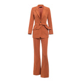 Skylar Bell Suit | Button lace up sash female blazer pants set