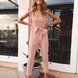 Corrine Pink Jumpsuit | Rompers Backless Bow Tie