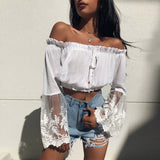 Amy | White Lace Crochet Crop Top