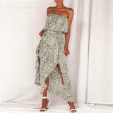 Ashlynn Split Maxi Dress | Strapless Ruffle Vintage Long Dress Maxi