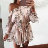 Baliy |  Ruffles One Shoulder Romper Women Boho Floral Print Chiffon Playsuit