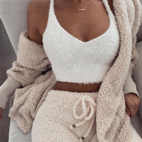 Zara Fuzzy Set | Short Fuzzy Jacket + Bottoms