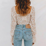 Kaley Floral Print Top | Drawstring Crop Tops