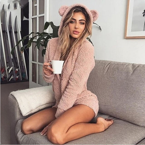 Alice Fuzzy Romper | Overalls For Women Long Sleeve Rompers Casual Sweet Girls Kawaii Playsuits