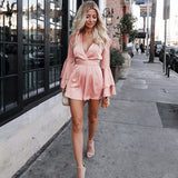 Henna | v neck flare long sleeve playsuit High waist tie up pleated satin short romper 2018 Summer women jumpsuit