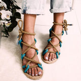 Taley Sandals | Lace Up Hemp Rope Rome Women Sandals