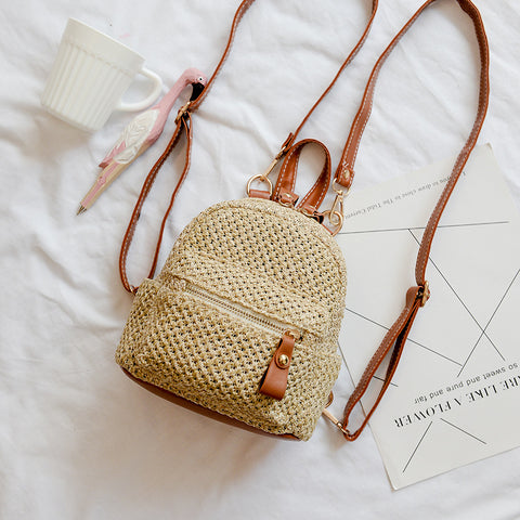 Daliy Backpack | Small Bag Mini Shoulder Bag Straw Woven Backpack