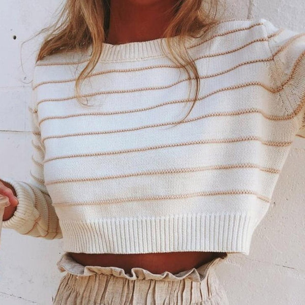 Liya Knitted Sweater | Striped Pullover