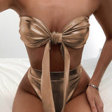 Cara Bow Bikini | Gold High Waisted