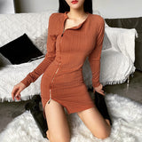 Zoa Zipper Dress | Body Con Long Sleeve