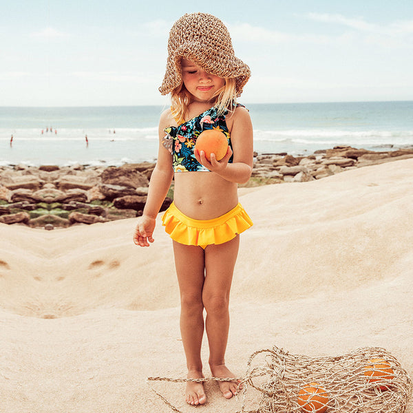 Floral Ruffles Bikini Sets With Skirted Bottom For Girls