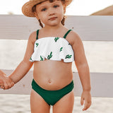 Lilly Green Cacti Print Bikini Sets Toddler Girls