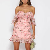Lira Floral Dress | Body Con Ruffle