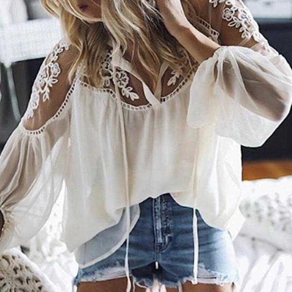 Liah Lace Blouse | See Through Sleeve
