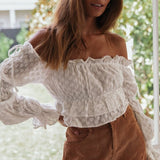 Finea Ruffle Top | Off Shoulder Embroidery